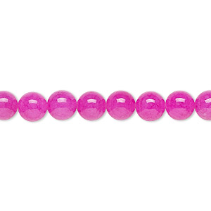 bead, malaysia jade (dyed), translucent fuchsia, 6mm round, b grade, mohs hardness 7. sold per 16-inch strand.