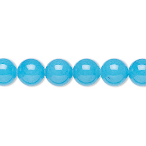 bead, malaysia jade (dyed), turquoise blue, 8mm round, b grade, mohs hardness 7. sold per 16-inch strand.