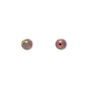 bead, mexican opal (man-made), multicolored, 6mm half-drilled round. sold per pkg of 2.
