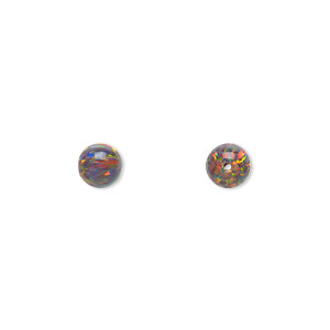 bead, mexican opal (man-made), multicolored, 6mm round with 0.8mm drill hole. sold individually.