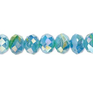 bead, millefiori glass, marbled aqua blue ab, 9x6mm faceted rondelle. sold per 8-inch strand, approximately 25 beads.
