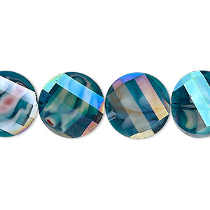 bead, millefiori glass, marbled teal ab, 14mm faceted wavy flat round. sold per 8-inch strand, approximately 15 beads.