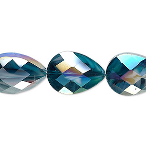 bead, millefiori glass, marbled teal ab, 18x13mm faceted teardrop. sold per 8-inch strand, approximately 10 beads.