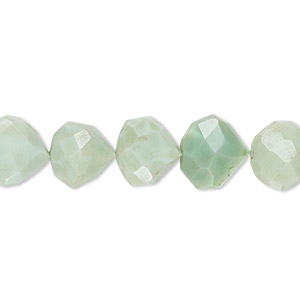 bead, mint green peruvian opal (dyed), 10x9mm-11mm hand-cut faceted puffed teardrop, c grade, mohs hardness 5 to 6-1/2. sold per 13-inch strand.