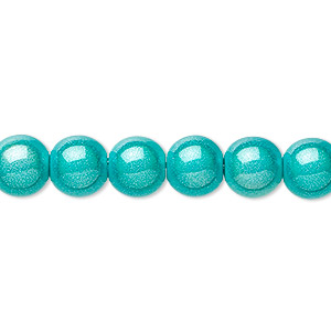 bead, miracle, acrylic, turquoise blue, 8mm round. sold per pkg of 10.
