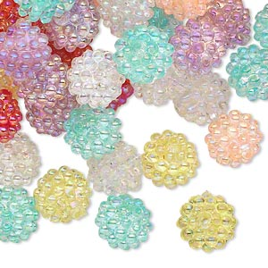 bead mix, acrylic, assorted colors ab, 10mm round with razzleberry design. sold per pkg of 100.
