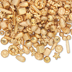 bead mix, acrylic, gold, 6x6mm-14x5mm mixed stardust shape. sold per 100-gram pkg, approximately 300-400 beads.