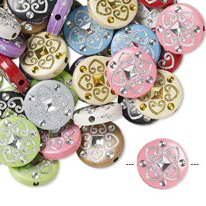 bead mix, acrylic, mixed colors, 18mm double-sided flat round with spade design, 2mm hole. sold per pkg of 50.