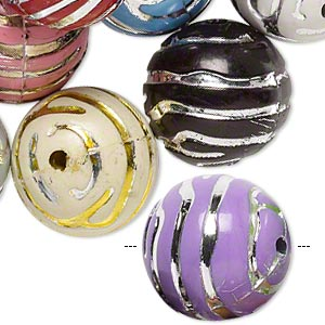 bead mix, acrylic, mixed colors, 18mm round with line design, 2.5mm hole. sold per pkg of 24.