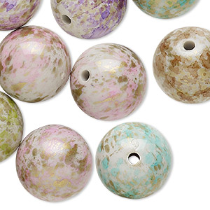 bead mix, acrylic, mixed colors, 20mm round with speckles and 2.5-3mm hole. sold per pkg of 25.