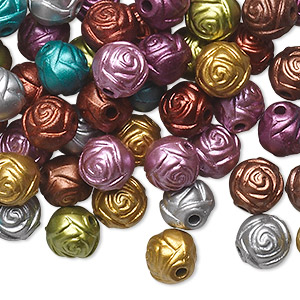 bead mix, acrylic, mixed colors, 8mm round rose. sold per pkg of 100.