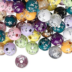 bead mix, acrylic, mixed colors, 8mm round with stars. sold per 75-gram pkg, approximately 250-275 beads.