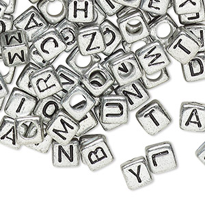 bead mix, acrylic, opaque silver and black, 6x6mm cube with alphabet letters and 3.5mm hole. sold per pkg of 100.