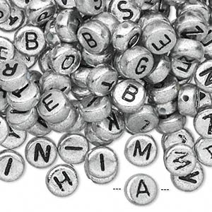 bead mix, acrylic, opaque silver and black, 7mm double-sided flat round with alphabet letters. sold per pkg of 200.