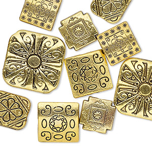bead mix, antique gold-finished pewter (zinc-based alloy), 10-16mm double-sided square and 12x10mm double-sided rectangle. sold per pkg of 10.