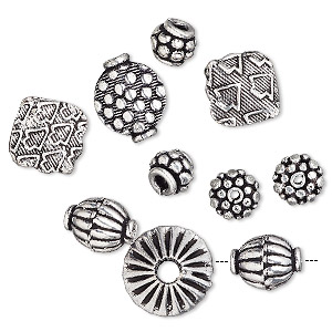 bead mix, antique silver-plated copper, 7x6mm-14x8mm mixed shape. sold per pkg of 10.