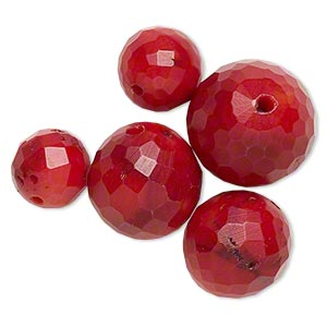 bead mix, bamboo coral (dyed), dark red, 11-18mm faceted round, b- grade, mohs hardness 3-1/2 to 4. sold per pkg of 5.