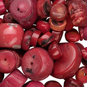 bead mix, bamboo coral (dyed), red, 12-30mm freeform, c grade. sold per 1/2 pound pkg, approximately 45-55 beads.