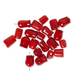 bead mix, bamboo coral (dyed), red, 4mm-7x6mm carved tulip, b- grade, mohs hardness 3-1/2 to 4. sold per pkg of 20.