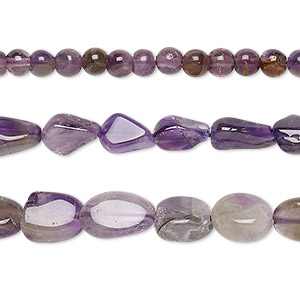 bead mix, banded amethyst (natural / dyed), medium to dark, 4mm-12x8mm hand-cut mixed shape, d grade, mohs hardness 7. sold per 13-inch strand.
