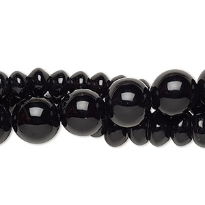 bead mix, black agate (dyed), 4-14mm mixed shape, c- grade, mohs hardness 6-1/2 to 7. sold per pkg of (3) 15-inch strands.