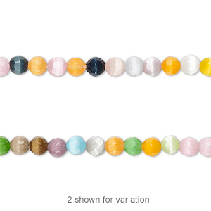 bead mix, cats eye glass, multicolored, 4mm faceted round with 0.7mm hole. sold per 16-inch strand.