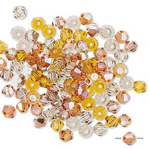 bead mix, celestial crystal, fall, 4-4.5mm faceted bicone with 0.9-1mm hole. sold per pkg of 100.
