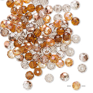 bead mix, celestial crystal, fall, 4-4.5mm faceted round. sold per pkg of 100.