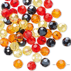 bead mix, celestial crystal, fire, 5.5-6mm faceted round. sold per pkg of 60.