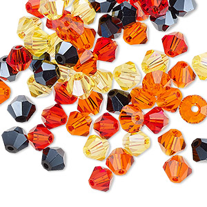 bead mix, celestial crystal, fire, 6mm faceted bicone. sold per pkg of 60.
