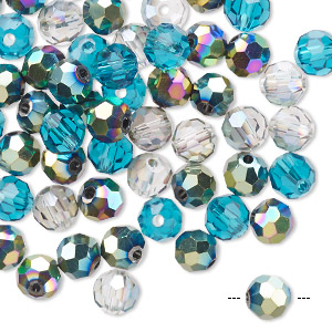 bead mix, celestial crystal, ocean, 5.5-6mm faceted round. sold per pkg of 60.
