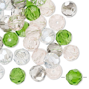 bead mix, celestial crystal, spring, 7.5-8mm faceted round. sold per pkg of 40.
