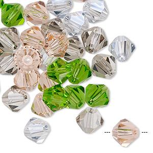 bead mix, celestial crystal, spring, 7x6.5mm-8mm faceted bicone. sold per pkg of 40.