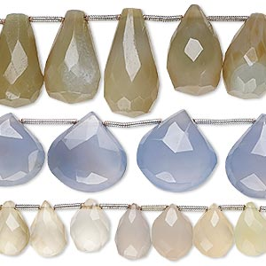 bead mix, chalcedony (natural / dyed), mixed colors, 8x8mm-23x17mm hand-cut faceted teardrop / faceted flat teardrop / faceted puffed teardrop, mohs hardness 6-1/2 to 7. sold per pkg of (3) 8-inch strands.