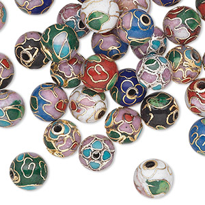 bead mix, cloisonne, enamel with gold-finished and silver-plated copper, multicolored, 8mm round with flower and leaves. sold per pkg of 36.