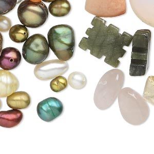 bead mix, cultured freshwater pearl / multi-gemstone (natural / bleached / dyed) / glass, 4x3mm-39x27mm mixed shapes. sold per pkg of 1 pound, 1/2 pound of beads and 1/2 pound of pearls, approximately 390 beads/pearls.