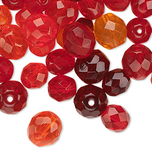 bead mix, czech fire-polished glass, ruby red, 4-10mm faceted rounds. sold per 50-gram pkg, approximately 75-130 beads.
