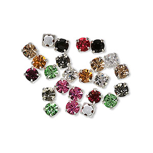 bead mix, czech glass and silver-plated brass, mixed colors, 4mm rose montees. sold per pkg of 24.