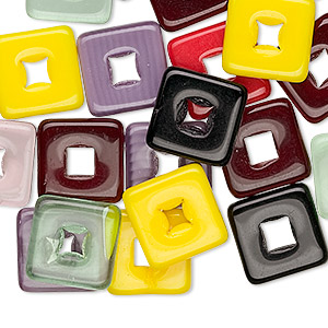 bead mix, czech pressed glass, mixed colors, 12x12mm square donut. sold per pkg of 50.