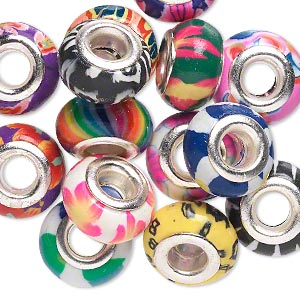 bead mix, dione, polymer clay and silver-plated brass grommets, mixed colors, 14x8mm rondelle with mixed designs, 5mm hole. sold per pkg of 14.