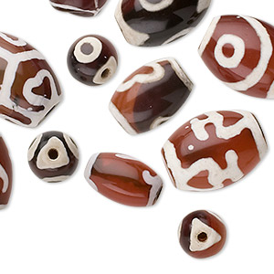 bead mix, dzi agate (natural), replicas, mixed size and shape, b grade, mohs hardness 6-1/2 to 7. sold per pkg of 12.