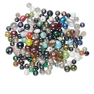 bead mix, glass, assorted colors/shapes, 2mm-25x16mm. sold per 1-kilogram pkg.