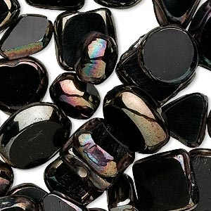 bead mix, glass, black luster, 7x4mm-21x11mm mixed shape. sold per 50-gram pkg, approximately 35-40 beads.