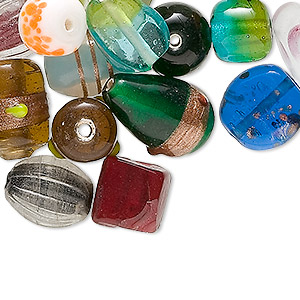 bead mix, glass, mixed color, 9x9mm-24x11mm mixed shape and design. sold per 1/4 kilogram pkg, approximately 120 beads.