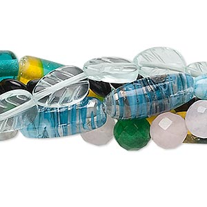 bead mix, glass, mixed colors, 6mm-20x8mm mixed shape. sold per pkg of (5) 15-inch strands.