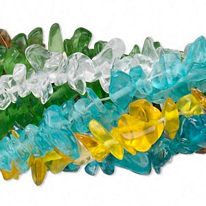 bead mix, glass, mixed colors, small to extra-large chip. sold per pkg of (10) 36-inch strands.