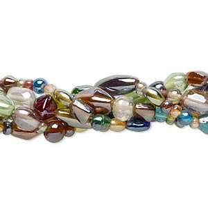 bead mix, glass, multicolored with luster finish, 4mm-22x10mm mixed shapes. sold per pkg of (5) 16-inch strands.