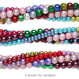 bead mix, glass pearl, mixed colors, 6-8mm round. sold per pkg of (5) 7-inch strands.