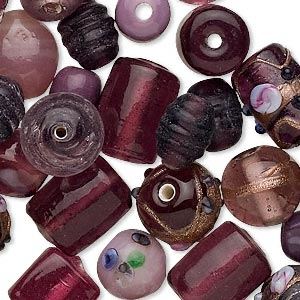 bead mix, glass, purple, handmade 6x6mm-13x11mm mixed shapes. sold per pkg of 100 grams, approximately 50-75 beads.