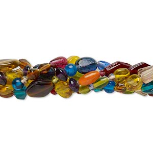 bead mix, glass, transparent mixed colors, 4mm-22x10mm mixed shape. sold per pkg of (5) 16-inch strands.